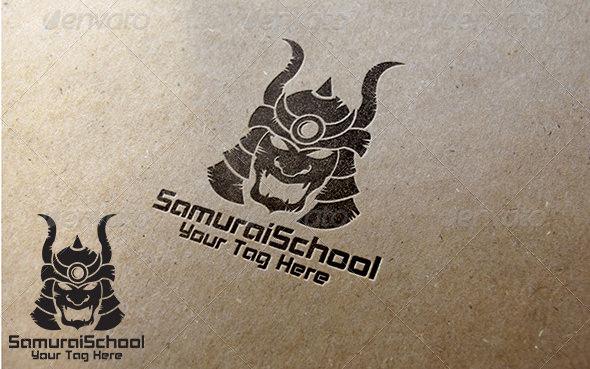 samurai school logo template