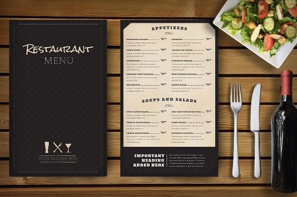 with this sample restaurant menu template you can come up with an impressive menu for any class or restaurant it has a folding cover to show the name and