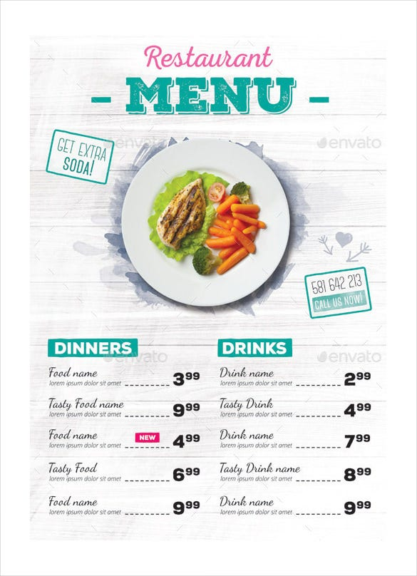 24 Restaurant Menu Templates Free Sample Example Format – Sample Cafe Menu Template