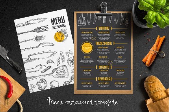 Restaurant Menu Templates  Free Sample Example Format