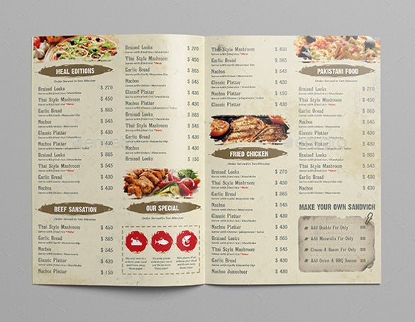 restaurant menu templates publisher