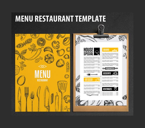 33 restaurant menu templates free sample example for Cafe menu design template free download