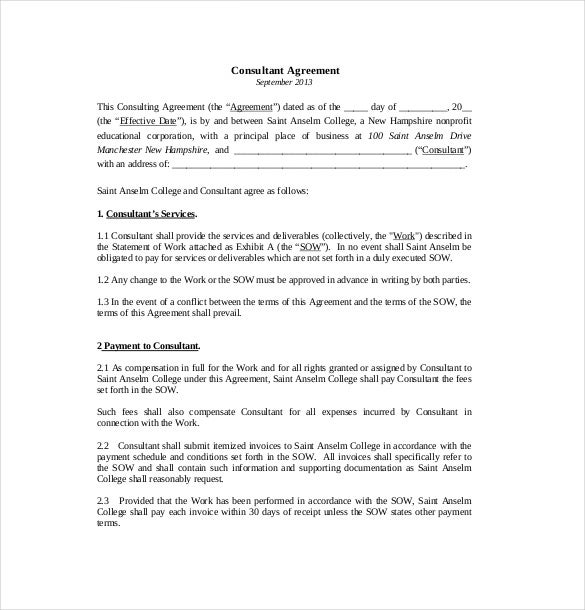 Consultant Agreement Templates  Free Sample Example Format
