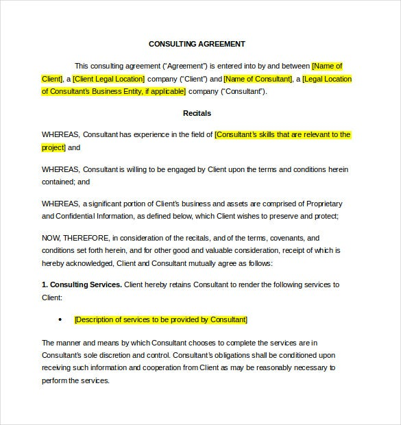 Consulting Agreement Example Contract Template For Consulting