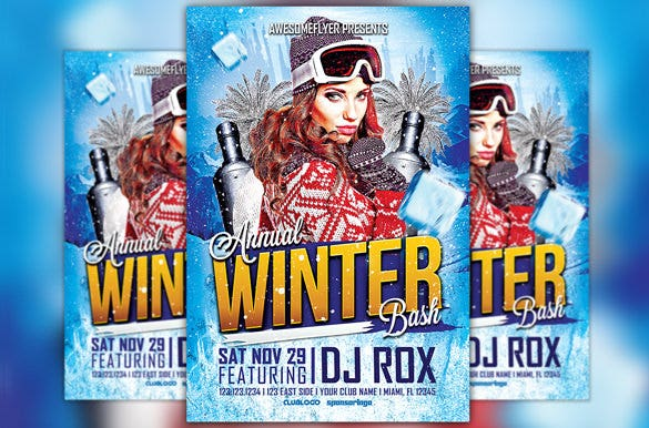 winter grand opening flyer template