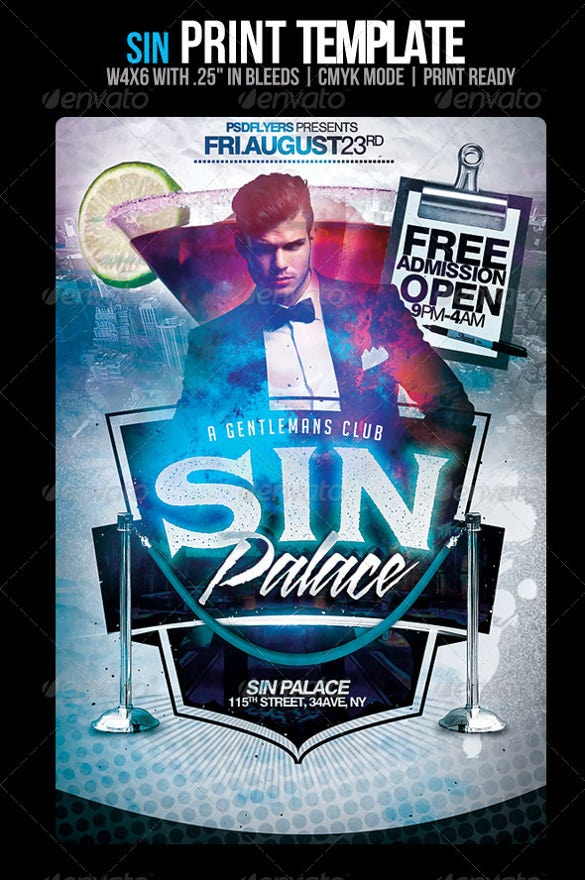 sin grand opening flyer template