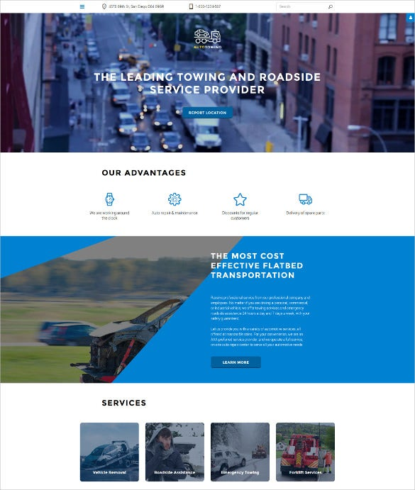 auto towing responsive joomla template