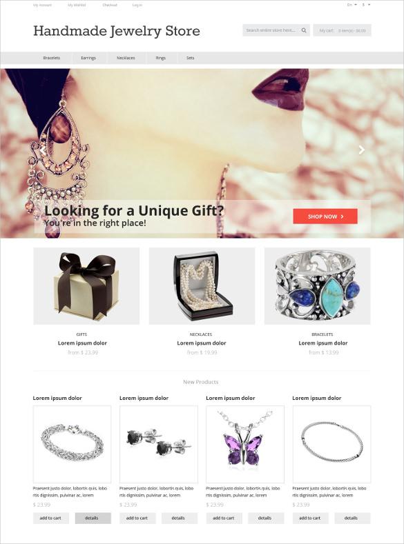 handmade silver stone jewelry magento theme