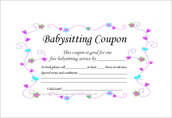 homemade babysitting coupon template download