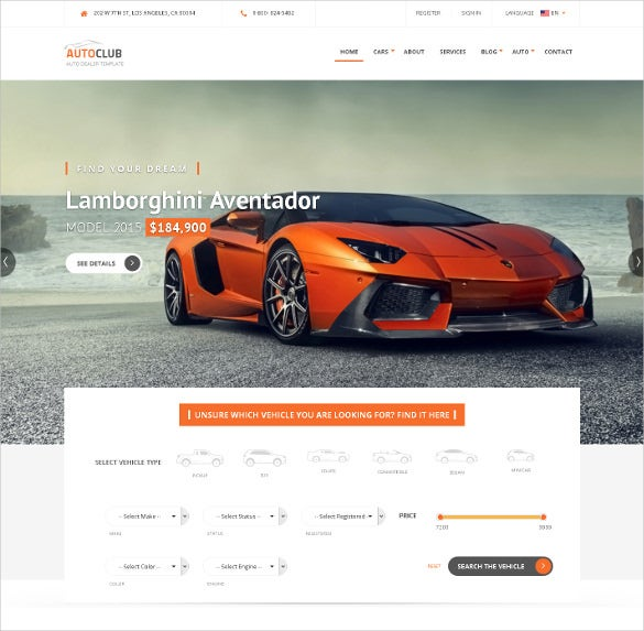 auto club responsive car dealer joomla template
