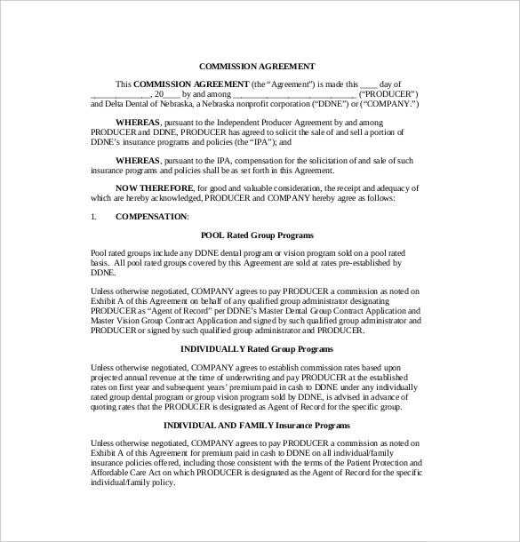 21 commission agreement template free sample example format deltadentalne when drafting a commission agreement you should make sure you get the date and name of both parties the next should be compensation in platinumwayz