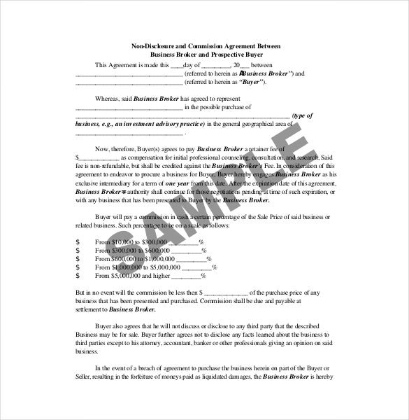 Sample Non Disclosure Commission Agreement Template Download