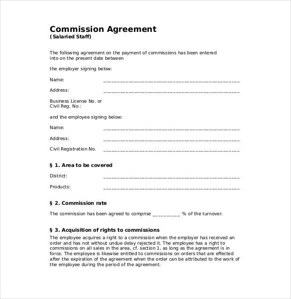 Commission Agreement Template  Free Sample Example Format