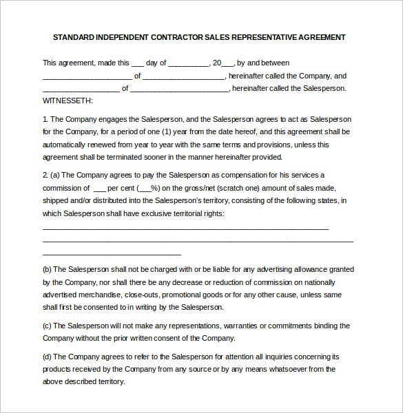 Commission Agreement. Independent Contractor Sales Commission