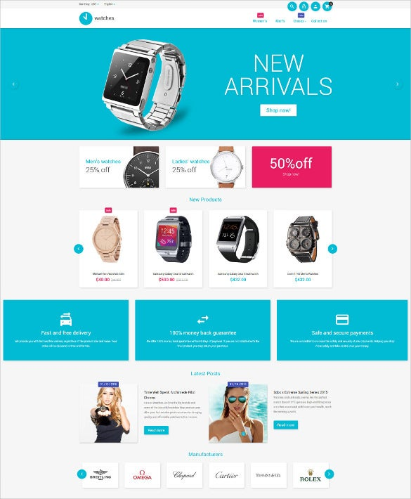 watches responsive magento ecommerce theme