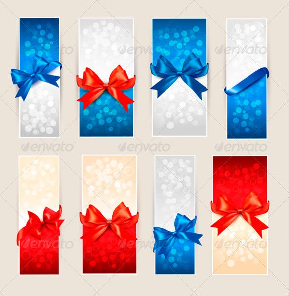 set of blank coupon templates with bows