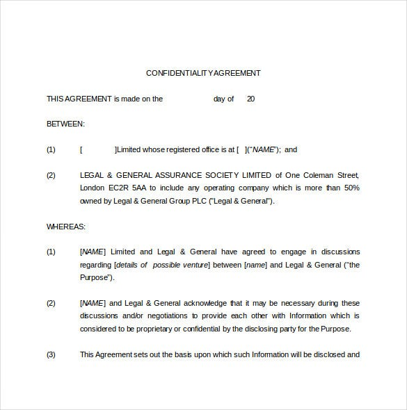 legal confidentiality agreement template word