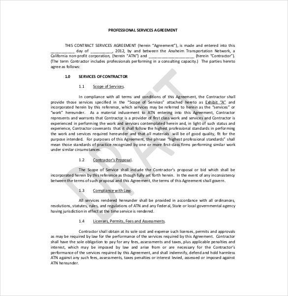 profressional legal service agreement