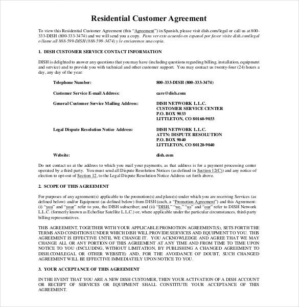 Dish.com | Example Residential Legal Agreement Is A Sample Of An Agreement  Between A Service Provider And The Client. The Contract Is Essential As It  Keeps ... Idea