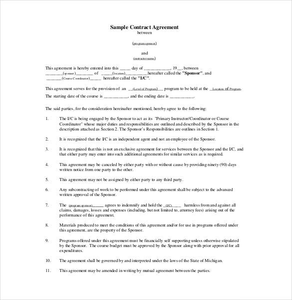26 Legal Agreement Templates Free Sample Example