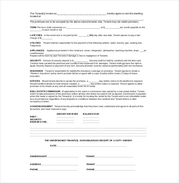 legal residential agreement template