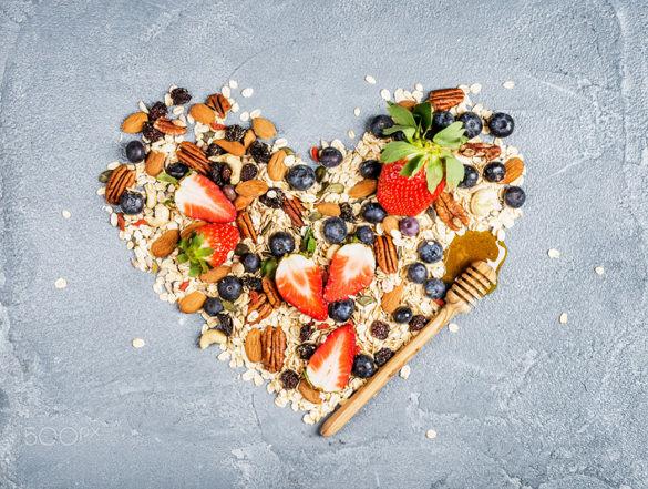 healthy breakfast in shape of heart beautiful photograph
