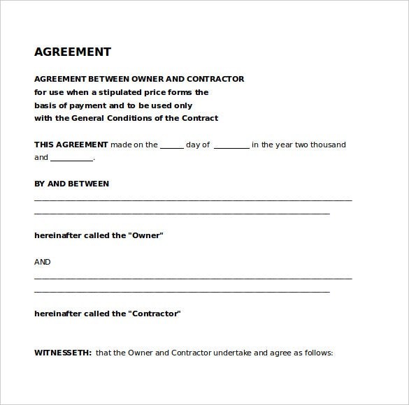 Free Sample Legal Agreement Between Contractor U0026 Owner Template  Contract Agreement Between Two Parties Sample