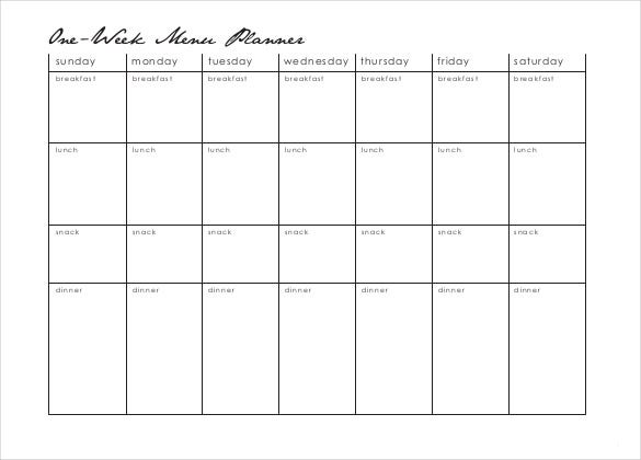 18 Menu Planner Templates Free Sample Example Format Download – Free Menu Planner Template