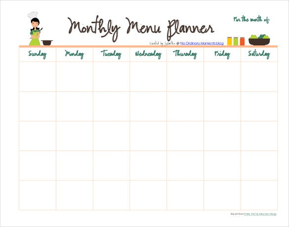 Monthly Meal Menu Planner PDF Format Template Download  Free Menu Planner Template