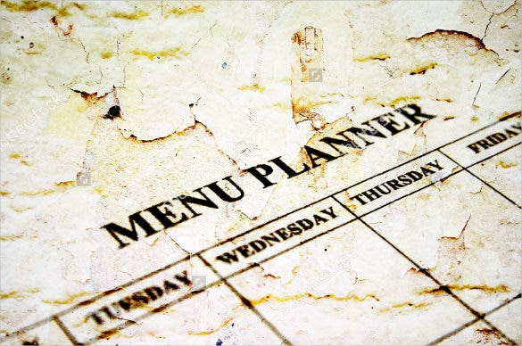 menu planner template sample download
