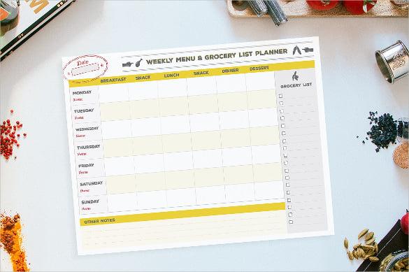 menu grocery list planner template sample download
