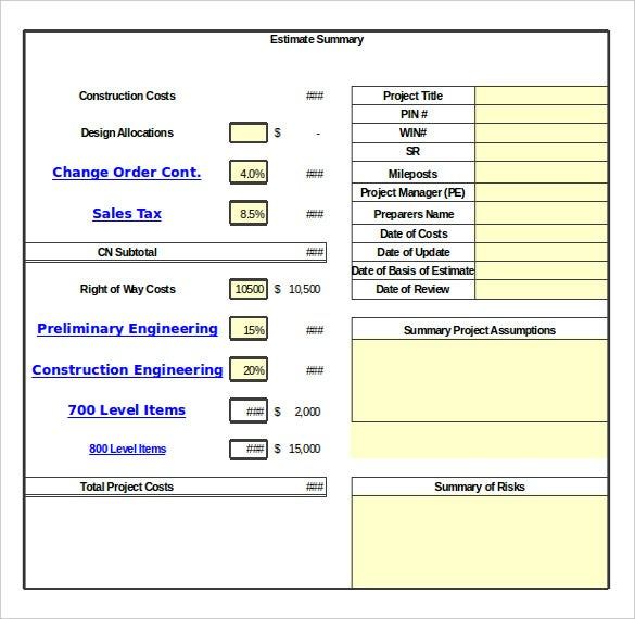 Change Order Excel Template
