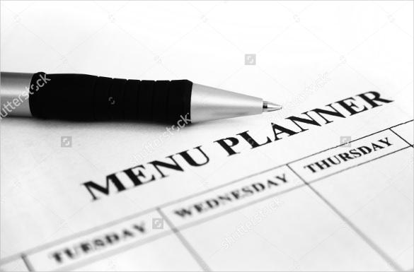 sample menu planner template download