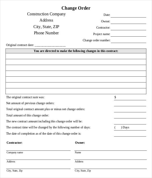 Lovely Contractor Change Order Form Template
