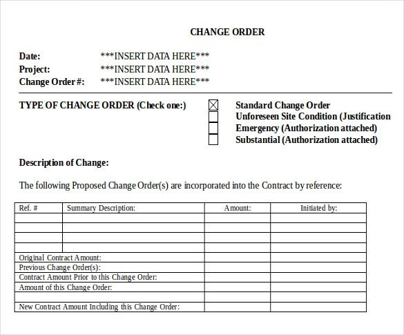 Change Of Order Form Template