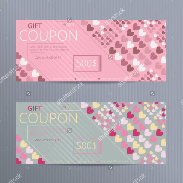 random colored hearts love coupon template download