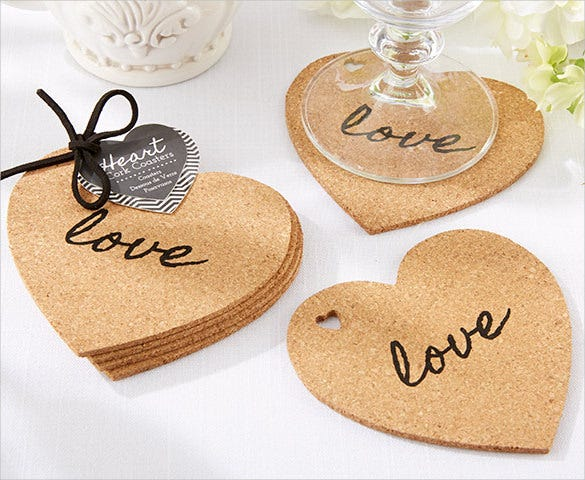 download heart cork wedding coaster design