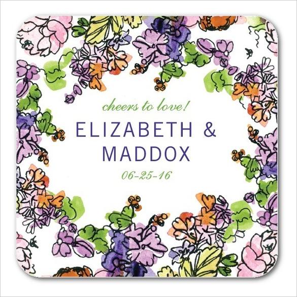 painted garden wedding coaster design download