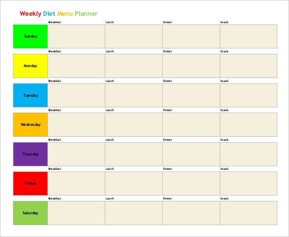 Weekly Diet Menu Planner Free PDF Format Template Download  Menu Planner Template Free