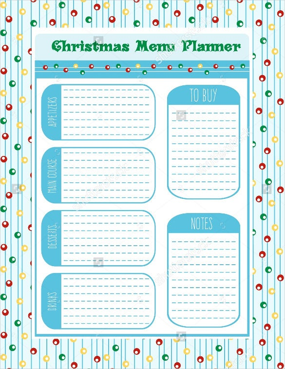 christmas menu planner vector format template download