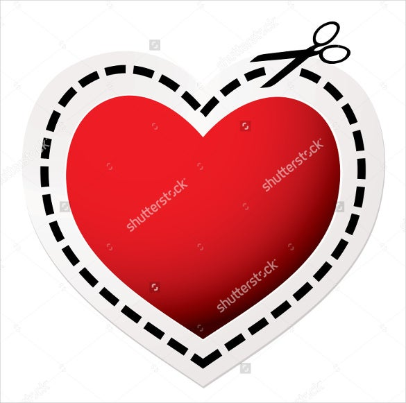 red heart blank love coupon template download
