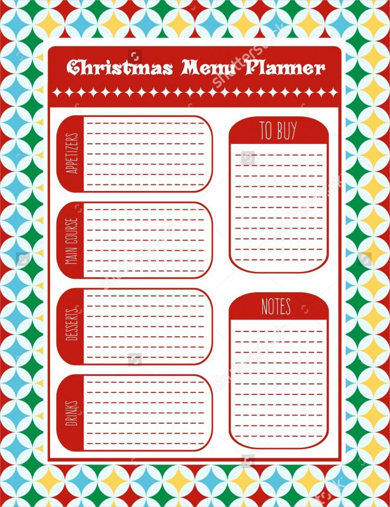 christmas menu planner vector format template 788x1022