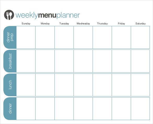 customizable week menu planner free pdf format template download