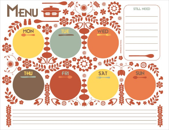 menu planner template sample download2