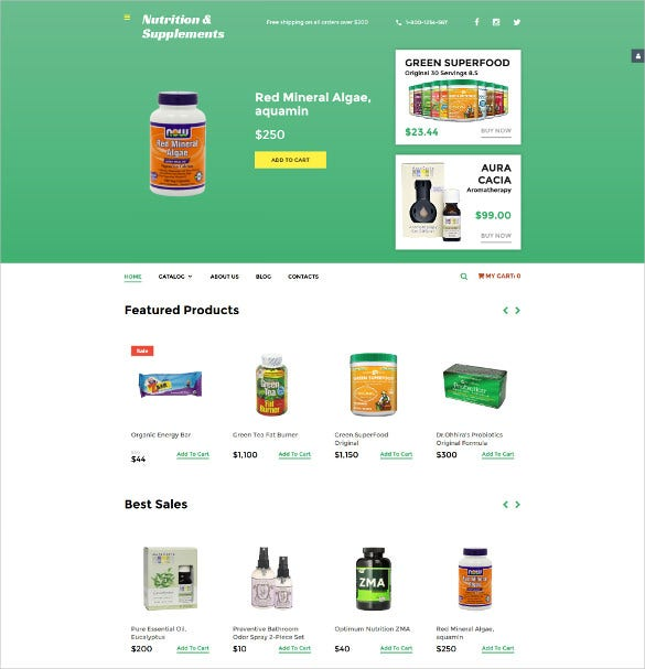 nutrition store responsive virtuemart ecommerce template