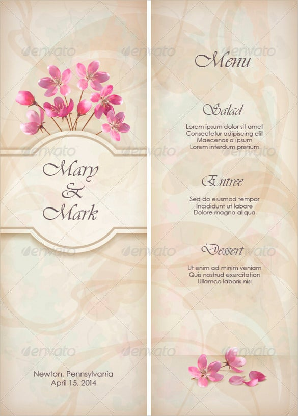 floral wedding menu template sample download