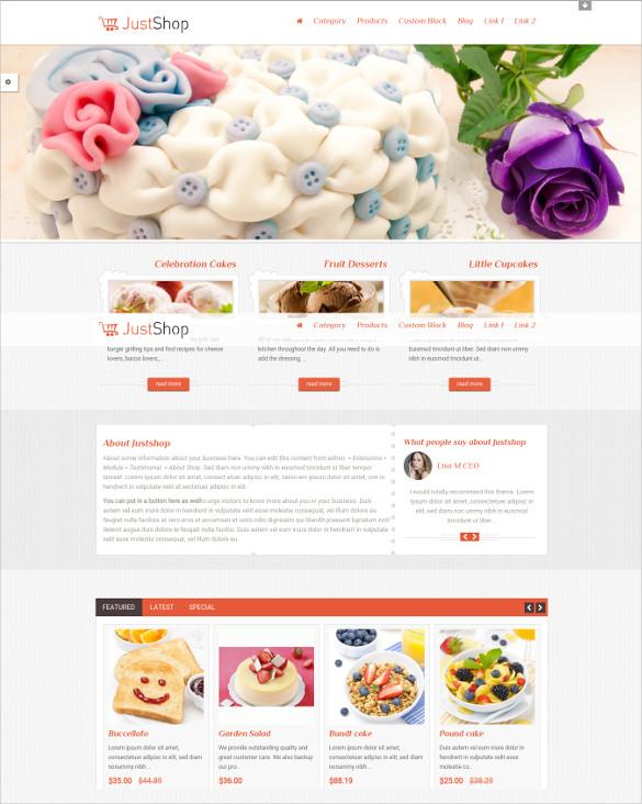justshop cake bakery opencart ecommerce theme