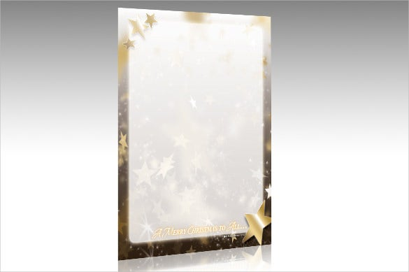 beautiful gold star holiday stationery template