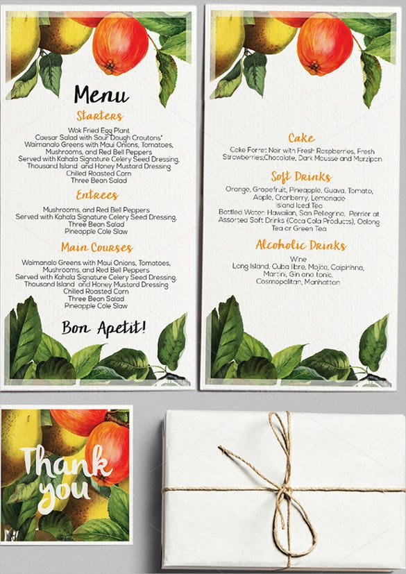 example botanical wedding menu template