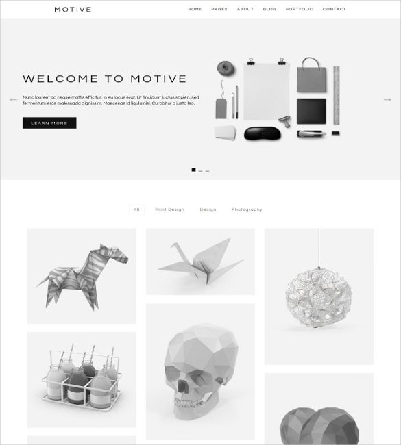 motive is a minimalist portfolio wordpress theme